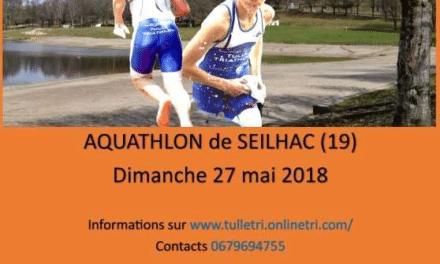 Sélectif Aquathlon Nouvelle-Aquitaine – Aquathlon de Seilhac – 27 mai 2018