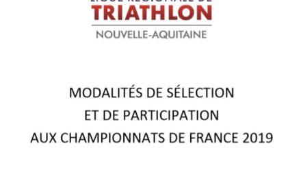 Modalités de sélection et de participation aux Championnats de France 2019