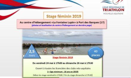 Stage Féminin – Port des Barques (17) – Du 24 au 26 mai 2019