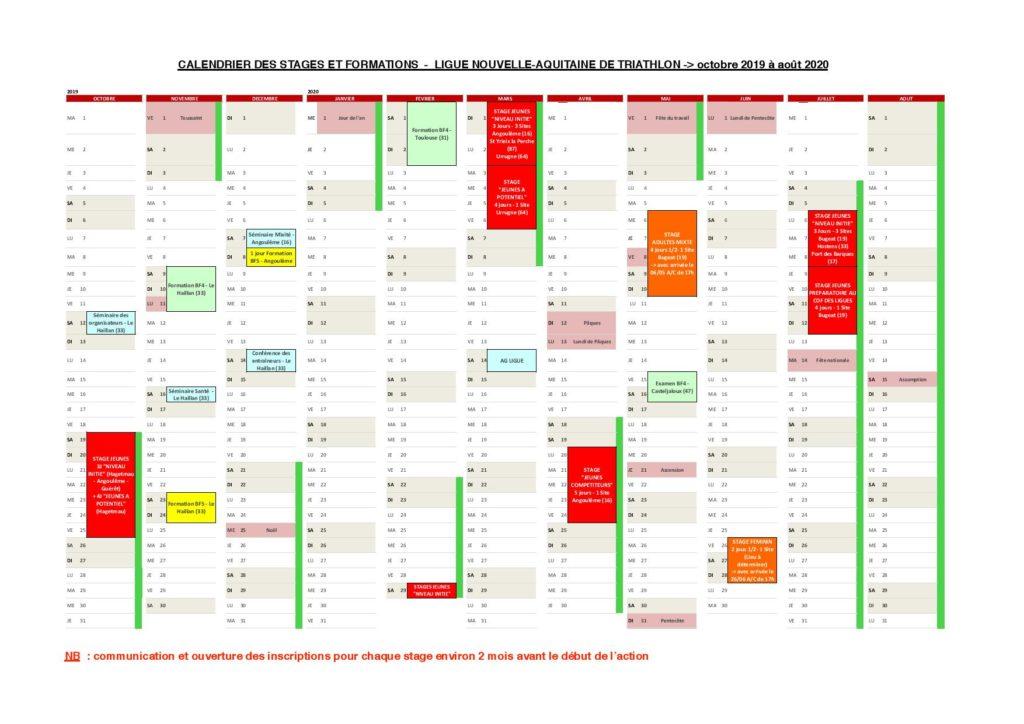 Calendrier des stages & formations Ligue Nouvelle Aquitaine // D