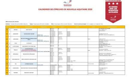 CALENDRIER DES ÉPREUVES DE NOUVELLE-AQUITAINE SAISON 2020
