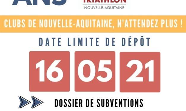 Campagne de subventions ANS 2021 clubs de Nouvelle-Aquitaine