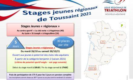 Stages Jeunes Ligue Nouvelle-Aquitaine – Vacances de la Toussaint 2021
